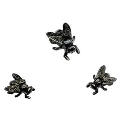 Set of 3 Sizes 18 Karat Gold Ruby Fly Pins Brooches