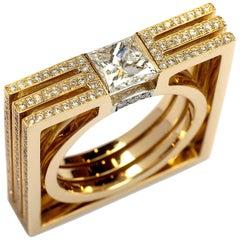 Frohmann 1 Carat Princess Cut Square Solitaire 18 Karat Yellow Gold Diamond Ring