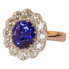 Sapphire and Diamond 18 Karat White Gold Cluster Ring