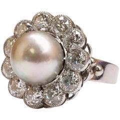 18 Karat White Gold Natural Pearl and Diamond Ring