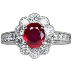 1.2 Carat Burma no heat Pigeon Blood SSEF Certified Ruby and Diamond Ring