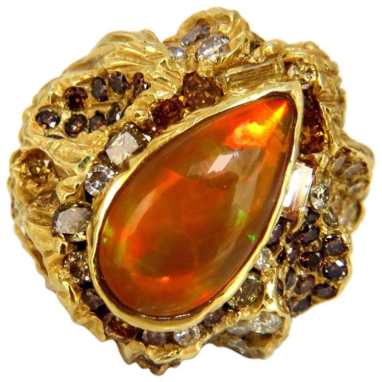 12.25 Carat Natural Opal Diamonds Ring 18 Karat Nugget Deco For Sale
