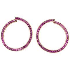1950s Natural Ruby Gold Hoop Earrings