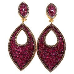 20.10 Carat Natural Vivid Red Ruby Diamond Dangle Earrings 14 Karat Glam