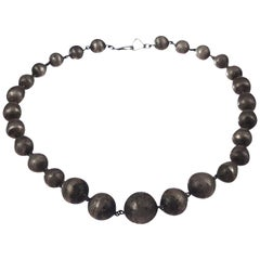 Art Deco Sterling Silver Graduated Ball Bead Necklace