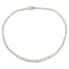 Diamond Bezel Set Necklace in 18 Karat White Gold 6 Carat