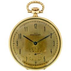 Antique IWC Schaffhausen 14 Karat Yellow Gold Manual Winding Pocket Watch, 1940s