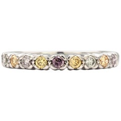 Multicolored Natural Round Diamonds Band in 18 Karat White Gold Ring