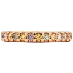 0.52 Carat Round Multicolored Diamonds in 18 Karat Rose Gold