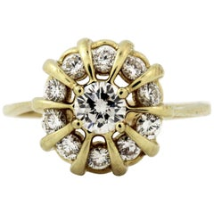 Jose Hess Yellow Gold and Diamond Cocktail Ring