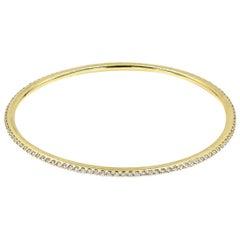 Lester Lampert Original D-Bead Diamond Bangle Bracelet in 18 Karat Yellow Gold