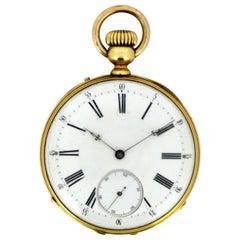 Antique Swiss 18 Karat Yellow Gold Pocket Watch by Amore Spiral Breguet, 1920s