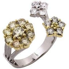 Stambolian Green White Yellow Diamond Gold Three Cluster Ring