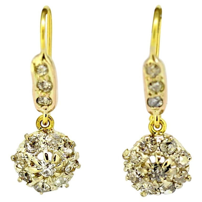 Antique Victorian 15 Karat Gold Ladies Earrings with Diamonds, England, 1880