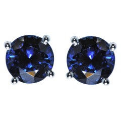 Tiffany & Co. Sapphire 2.23 Carat Medium Drk Pt 950 Soleste Earrings