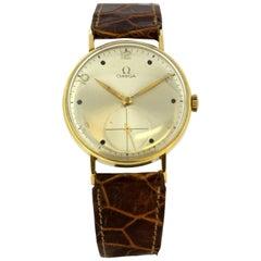 Vintage Omega Men's Manual Winding Wristwatch in 18 Karat Yellow Gold, 1950s