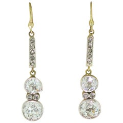 Edwardian 2.11 Carat Old Cut Diamond Drop Earrings