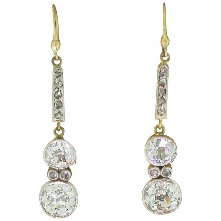 Edwardian 2.11 Carat Old Cut Diamond Drop Earrings