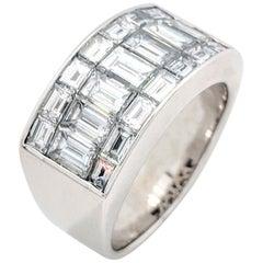 18 Karat White Gold Emerald Cut Diamond Wide Band 3 Carat VVS1/F