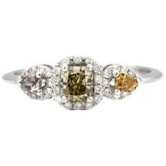 Three-Stone Multicolored 18 Karat White Gold Ring