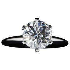 Tiffany & Co. Platinum Diamond Engagement Ring, 1.42 Carat, G, VS2