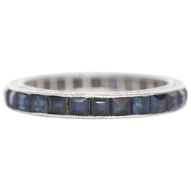 1.25 Carat Total Weight Sapphire White Gold Wedding Band