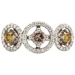 Three-Stone Yellow and Pink Diamond 18 Karat White Gold Ring