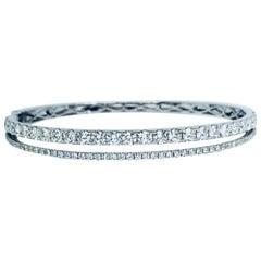 Diamond Bangle Double Row in 18 Karat White Gold Bracelet