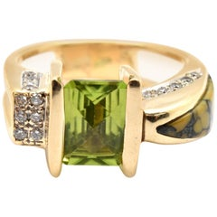 14k Yellow Gold Checkerboard Cut 3.00ct Peridot and Round Diamond Cocktail Ring