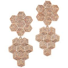 18 Karat Rose Gold Brillante Earrings with Diamonds, 8.28 Carat