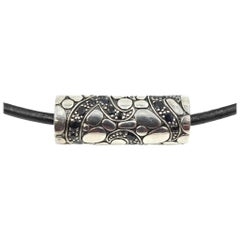 John Hardy Cord Necklace with Silver and Black Sapphire Slide
