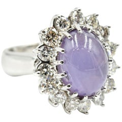 14 Karat White Gold Lavender Star Sapphire with Floral Style Diamond Halo Ring