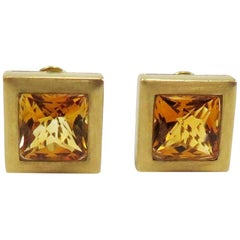 Ming's Square Citrine Omega Back 18 Karat Yellow Gold Earrings