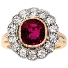 Edwardian 2.35 Carat Burma Ruby and Diamond Platinum Topped Cluster Ring