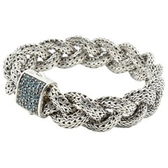 John Hardy Sterling Silver Blue Topaz Classic Chain Collection Bracelet