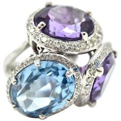 14 Karat White Gold, Diamond, Amethyst and Blue Topaz Ring