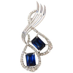 25 Carat Cobalt Blue Lab Sapphire Diamonds Brooch Pin Platinum