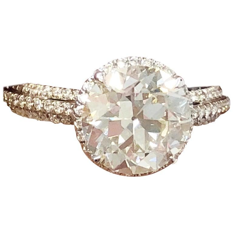 Old European Cut Round Diamond Engagement Ring