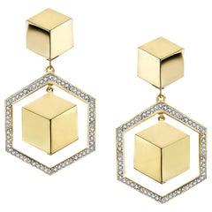 18 Karat Yellow Gold Brillante Earrings with Diamonds, 0.85 Carat