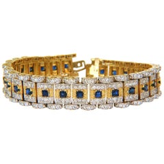 10.00 Carat Natural Sapphire Diamond Bracelet Edwardian Revival Deco 14 Karat