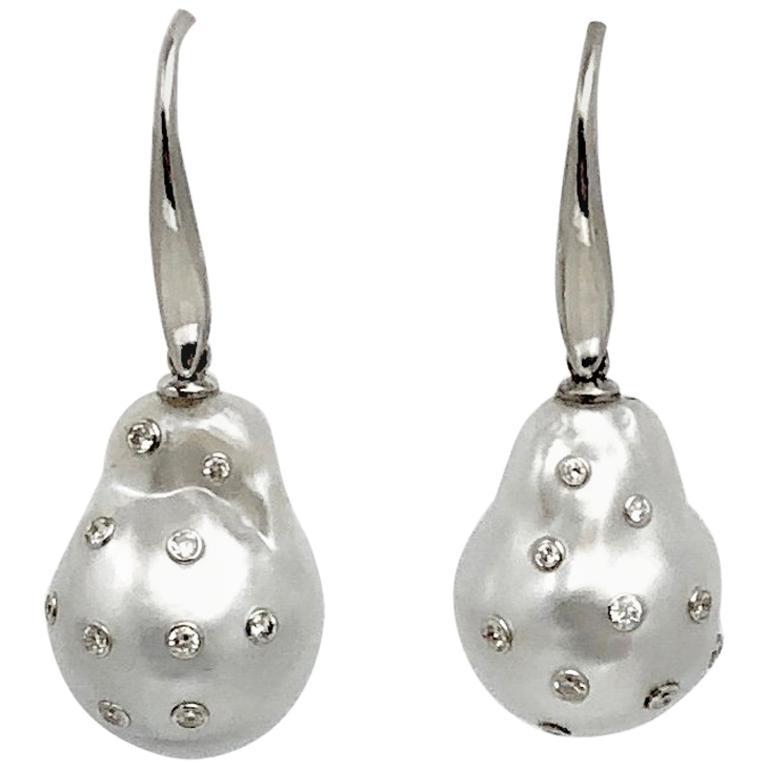 Fabulous South Sea Baroque Pearl and Diamond Earrings For Sale