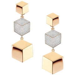 18 Karat Rose Gold Brillante Earrings with Diamonds, 0.89 Carat
