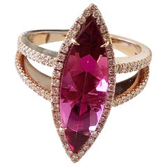 Red/Pink Rubellite Marquis and White Diamond Cocktail Ring in 14 Karat Rose Gold