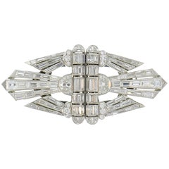 Diamond Platinum Double-Clip Brooch Pin, Art Deco, 1930s
