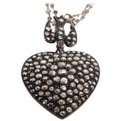 8.57 Carat Rose Cut Brown Diamond Heart Pendant