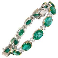 10.79ct bright forest vivid green natural emerald diamonds tennis bracelet 14kt