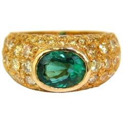 6.30 Carat Eternity Natural Emerald Fancy Yellow Diamonds Ring A+ Micro Set
