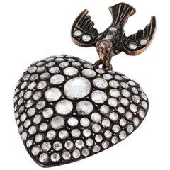 4.75 Carat White Rose Cut Diamond Heart Pendant