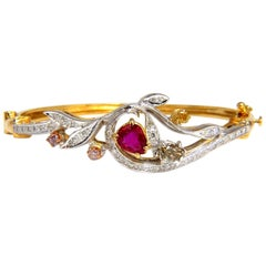 GIA Certified No Heat Natural Ruby Fancy Color Diamonds Bangle Bracelet