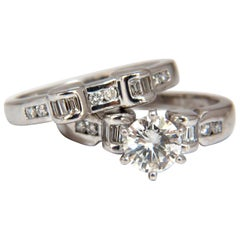 GIA Certified 1.40 Carat Round Diamond Ring and Matching Band Platinum H/VS